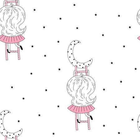 Vector seamless pattern illustration. Cute little girl on stairs reaching for her moon. Vector doodle illustration in pink colour for girlish designs like textile apparel print, wall art, poster. 写真素材 - 132553539