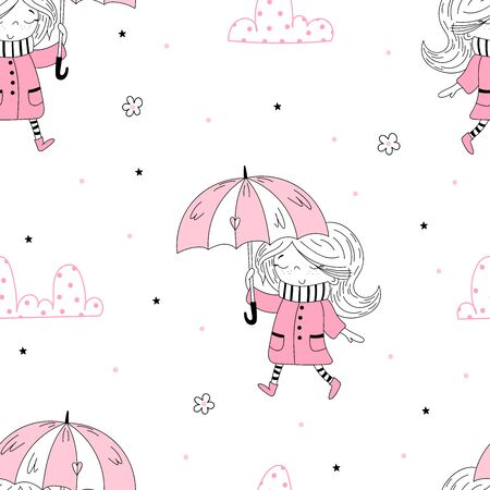 Vector seamless pattern illustration. Cute little girl in pink coat and stripy scarf hiding under umbrella during during the rain weather.
