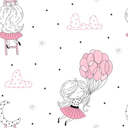 cute little girl vector seamless pattern illustration. Hand Drawn cute little girl. Cute little girl in pink flying away in the sky with her pink balloon. Cute little girl on stairs reaching for her moon.Vector doodle illustration in pink colour for girlish designs like textile apparel print, wall art 写真素材 - 129570625