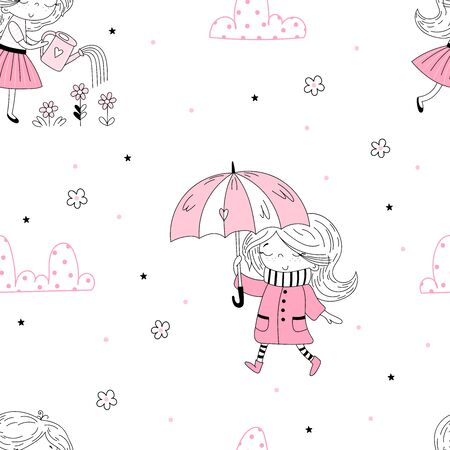 cute little girl vector seamless pattern illustration. Hand Drawn cute little girl. Cute little girl in pink coat and stripy scarf hiding under umbrella during during the rain weather. Cute little girl watering flowers.Vector doodle illustration in pink colour for girlish designs like textile apparel print, wall art 写真素材 - 129570710