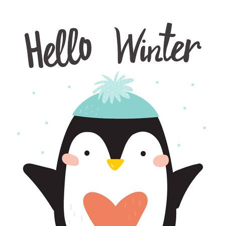 Cartoon cute penguins vector character. Christmas print with penguins in hats. Helo winter card. Bright funny cartoon card . 写真素材 - 131824604