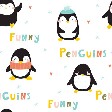 Seamless pattern with penguins. Cute penguin cartoon illustration. Animals pattern.