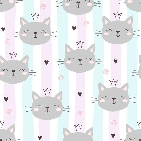 Seamless pattern with cute little cat. vector illustration. 写真素材 - 132553549