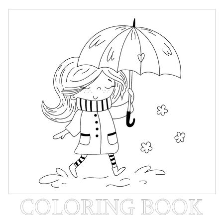 Hand drawn page for coloring book with cute little girl vector illustration. Cute little girl in coat and stripy scarf hiding under umbrella during during the rain weather.