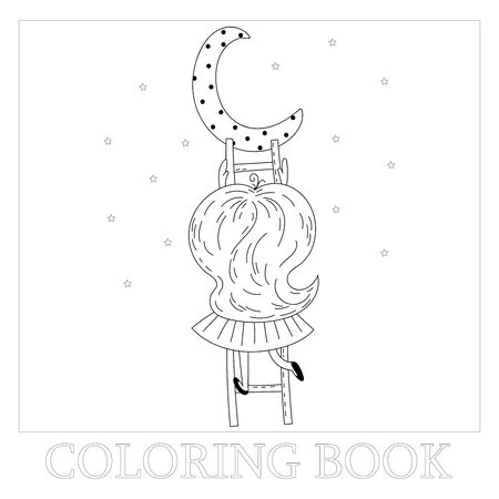 Hand drawn page for coloring book with cute little ballerina vector illustration. Cute little girl on stairs reaching for her moon. Vector doodle illustration for girlish designs.  イラスト・ベクター素材