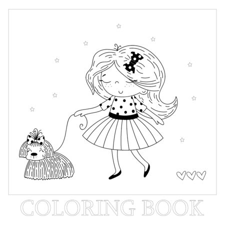 Hand drawn page for coloring book with cute little girl and dogvector illustration. Vector doodle illustration for girlish designs.