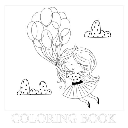 Hand drawn page for coloring book with cute little ballerina vector illustration. Cute little girl flying away in the sky with her Balloon. Vector doodle illustration for girlish designs.