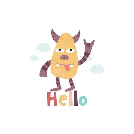 Cartoon cute Funny monster vector character. Bright funny cartoon card . Lovely monster for children designs. Sweet smiling creatures in warm colors in vector 写真素材 - 131824662