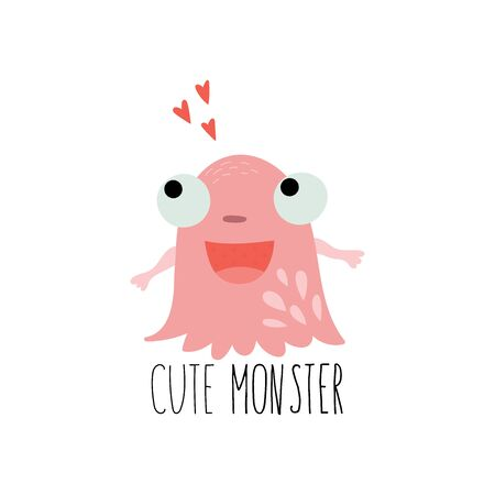 Cartoon cute Funny monster vector character. Bright funny cartoon card . Lovely monster for children designs. Sweet smiling creatures in warm colors in vector 写真素材 - 131826013