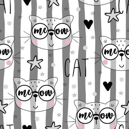 Seamless pattern with cute little cat. vector illustration. 写真素材 - 132553543