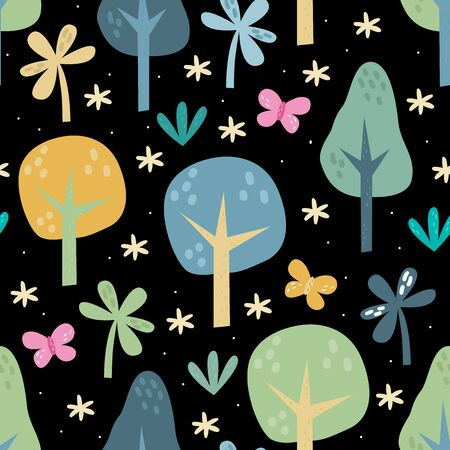 The vector illustration seamless pattern of forest elements 写真素材 - 132553547