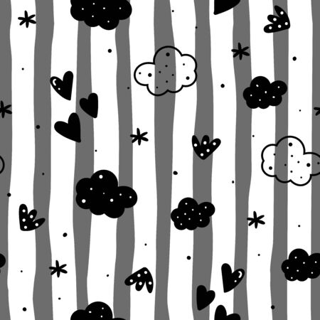 Cute hand drawn clouds and stars Seamless pattern. vector illustration 写真素材 - 130694213