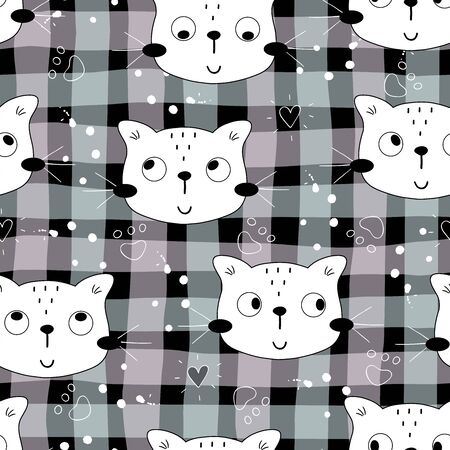 Seamless pattern with cute little cat. vector illustration. 写真素材 - 132553546