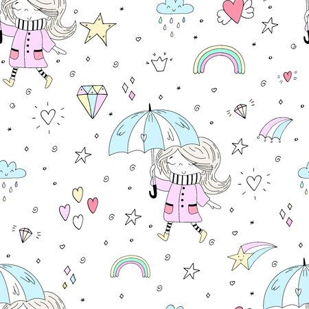 Vector seamless pattern illustration. Hand Drawn cute little girl. Cute little girl in pink coat and stripy scarf hiding under umbrella during during the rain weather. 写真素材 - 132553550