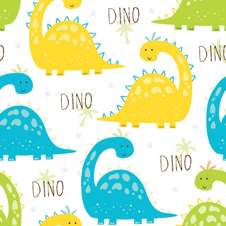 Cute seamless pattern with funny dinosaurs. vector illustration