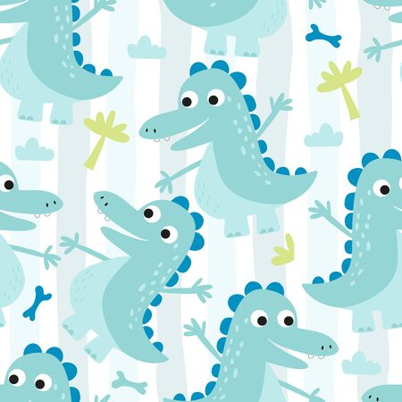 Cute seamless pattern with funny dinosaurs. 写真素材 - 132553551