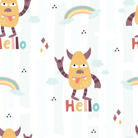 Funny monsters. Lovely seamless pattern for children designs. Sweet smiling creatures in bright colors in vector. Awesome childish background. 写真素材 - 132553548