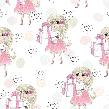 Cute little girl vector seamless pattern illustration.