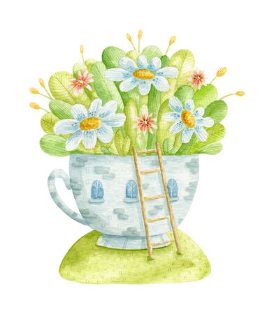 Watercolor illustration. Watercolor cup, house with flowers. Watercolor illustration - greeting cards, invitations, textiles and other decor.
