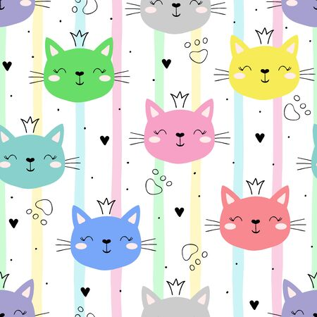 Seamless pattern with cute little cat. vector illustration. 写真素材 - 132553557