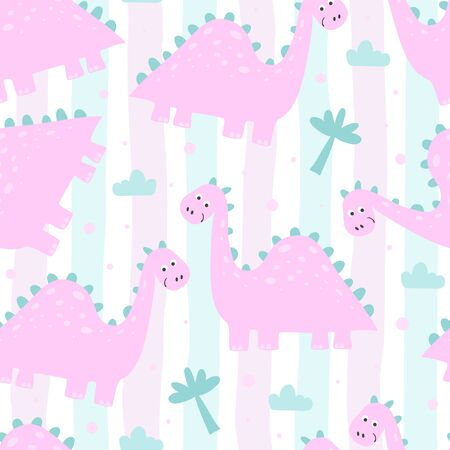 Cute seamless pattern with funny dinosaurs. vector illustration. 写真素材 - 132553552
