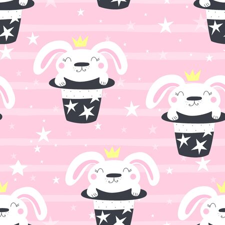 Hand drawn vector pattern with magic hat with rabbit bunny. vector illustration.