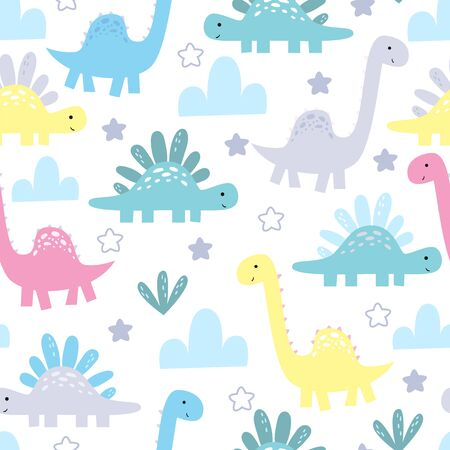 Cute seamless pattern with funny dinosaurs. vector illustration. 写真素材 - 132553560