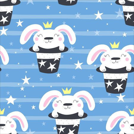 Hand drawn vector pattern with magic hat with rabbit bunny. vector illustration. 写真素材 - 132381911