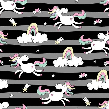 Cute hand drawn unicorn vector pattern. vector illustration. Unicorn and magic. Cute seamless pattern. print for kids. 写真素材 - 132390810