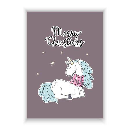 Cute hand drawn Christmas character unicorn. Christmas print with Unicorn. vector illustration. print for kids. cartoon print 写真素材 - 132391736