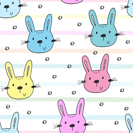 Seamless pattern with cute little bunny. 写真素材 - 132921604