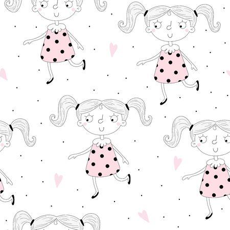 cute little girl seamless pattern illustration  イラスト・ベクター素材