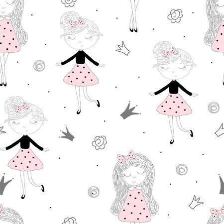 cute little girl seamless pattern illustration 写真素材 - 132921704
