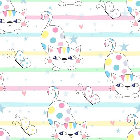 Cute hand drawn cats colorful seamless pattern background 写真素材 - 132921840
