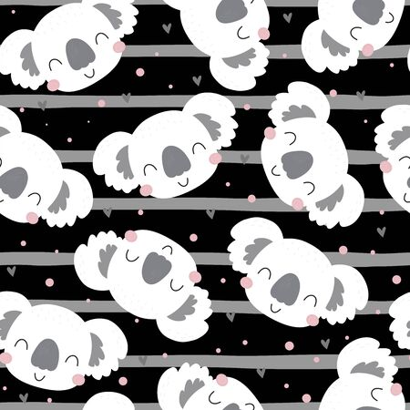 Seamless pattern. Cute character - sleeping animal baby Koala bear. print for baby shower.  イラスト・ベクター素材
