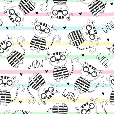 Cute hand drawn cats seamless pattern background 写真素材 - 132921894