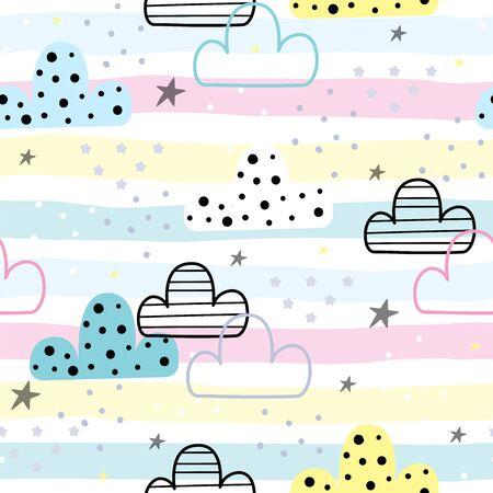 Cute hand drawn clouds Seamless pattern. 写真素材 - 132928091