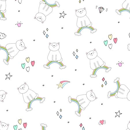 Hand drawn seamless pattern with cute cat on a rainbow, doodle illustration for kids