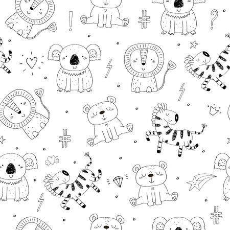 Cute hand drawn doodles funny African animals. Seamless pattern 写真素材 - 132928308