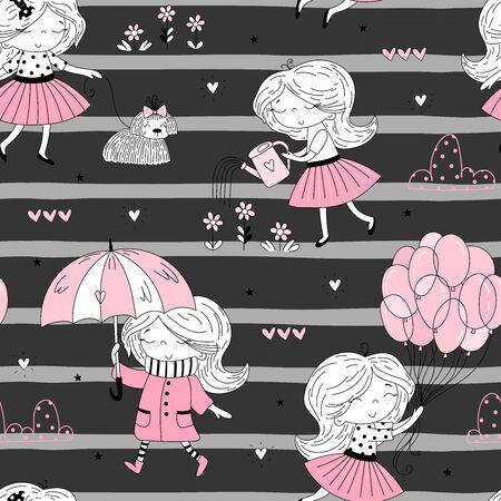 cute little girl seamless pattern illustration 写真素材 - 132928446