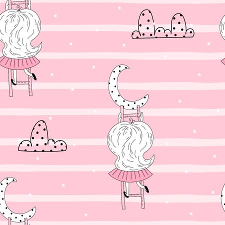 Cute little girl on stairs reaching for her moon. Vector doodle illustration in pink colour for girlish designs like textile apparel print, wall art, poster. 写真素材 - 132928497