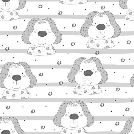 Seamless pattern with cute little dog. 写真素材 - 132928524