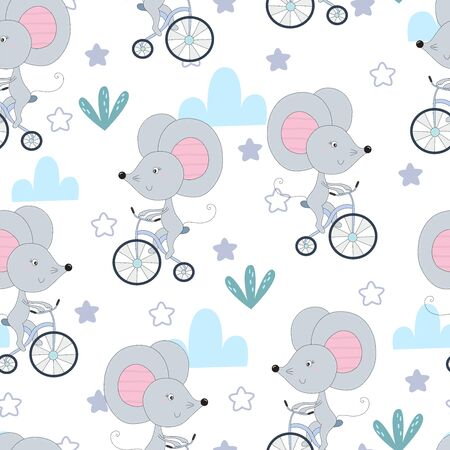 hand drawn Sample pattern with little mouse riding a bicycle. 写真素材 - 133242192