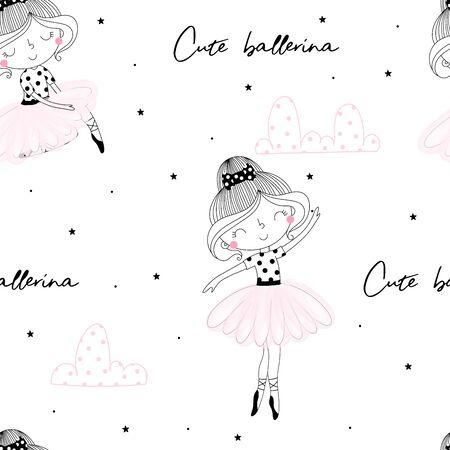 Cute hand drawn with cute little girl ballerina vector seamless pattern illustration. Ilustração