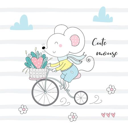Cute little mouse riding a bicycle cartoon hand drawn vector illustration.