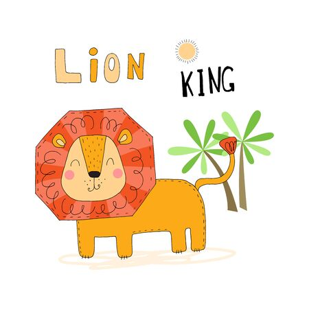 Illustration of Cute hand drawn vector African Animal, lion. Vector Illustration. vector print 일러스트