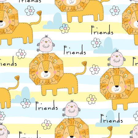 Cute little lion cartoon style. Vector pattern. Seamless vector pattern Vectores