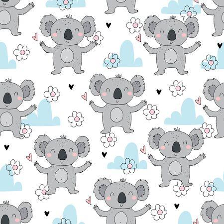 Seamless pattern. Cute character - sleeping animal baby Koala bear. Vector print for baby shower.