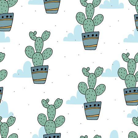 hand drawn Sample pattern with cactus vector illustration Illustration
