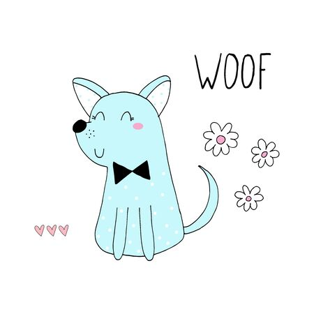 doodle illustration of Cute hand drawn vector cartoon little dog . Vector Illustration. vector print.